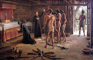Tela de Benedito Calixto (1853-1927), Anchieta e Nóbrega na cabana de Pindobuçu, retrato de um momento da catequização dos índios