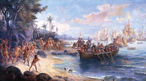 Caravela de Cabral desembarcando no Brasil *