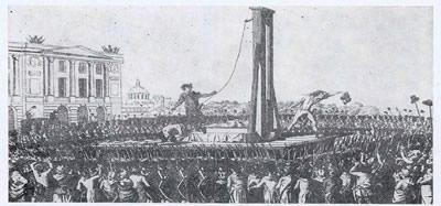 Gravura de um jornal húngaro representando a decapitação de Luís XVI.*