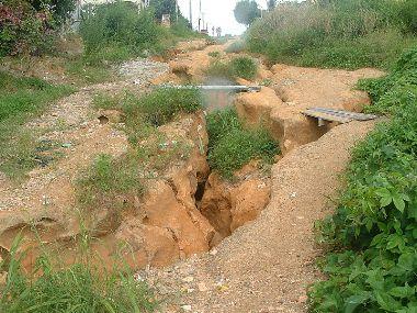 Erosão do solo em área urbana*