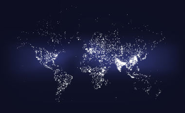 As áreas mais claras do mapa concentram o maior número de pessoas