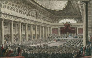 Acima, reunião da Assembleia Nacional Francesa, em 1789