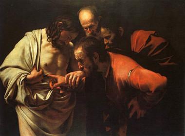 """Acima, o quadro """"A incredulidade de São Tomé"""", do pintor italiano Caravaggio"""