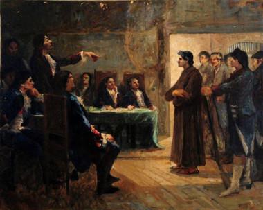 Tela de Antônio Parreiras retratando o julgamento de Frei Caneca