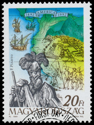 Selo húngaro em homenagem a Francisco Pizarro, considerado o conquistador dos Incas *