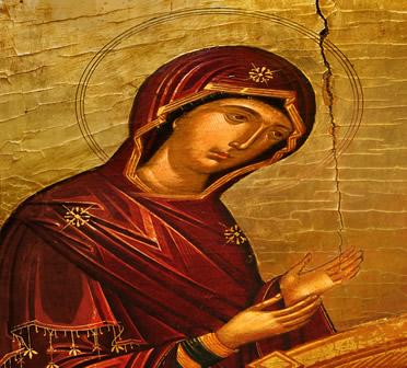 Pintura medieval da Virgem Maria. Durante a Idade Média, a Igreja Católica se transformou na instituição dominante da Europa Ocidental