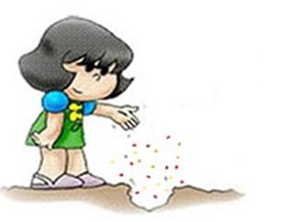 A menina plantou muitas sementes com o desejo de formar um lindo canteiro de flores