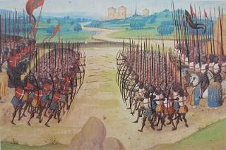 Representação da Batalha de Azincourt, 1415, dentro da Guerra dos Cem Anos
