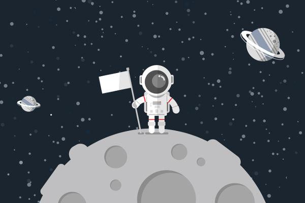 A gravidade na Lua é bem menor que na Terra. Ao pisar na Lua, os astronautas sentiram-se quase cinco vezes mais leves do que aqui na Terra.