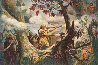 Combate aos botocudos em Mogi das Cruzes, tela de Oscar Pereira da Silva (1865-1939) que mostra a luta de bandeirantes contra indígenas