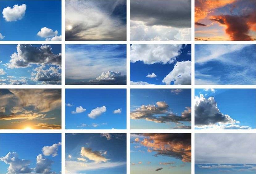 As nuvens, partículas de umidade do ar condensadas, podem ter várias formas, dimensões e texturas.