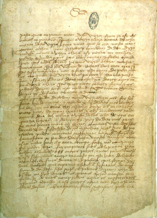 Uma das sete páginas da Carta de Pero Vaz de Caminha