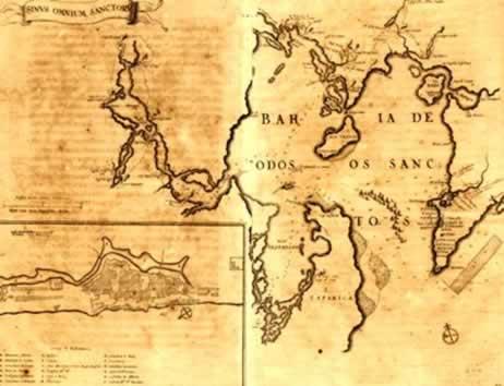 Um antigo mapa da Bahia de Todos os Santos, região da primeira capital do Brasil