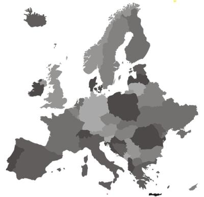 Mapa político do continente europeu