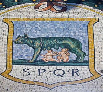 Mosaico representando a lenda de fundação de Roma, com os irmãos Rômulo e Remo sendo amamentados por uma loba