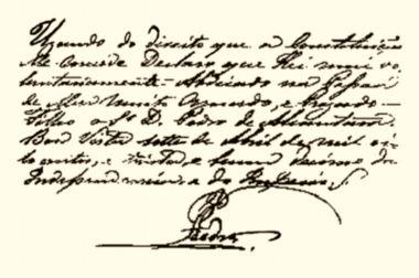 Bilhete escrito pelo Imperador D. Pedro I que expressa seu gesto de abdicação do trono