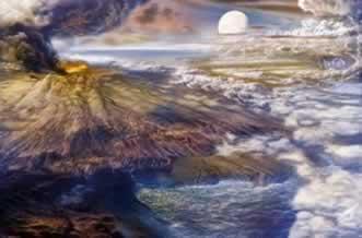 Ilustração da Terra primitiva