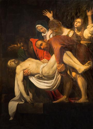 Exemplo de obra barroca: A Descida da Cruz, Caravaggio (1571-610)*