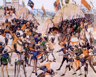 Pintura medieval retratando a Batalha de Crécy, uma das mais importantes da Guerra dos Cem anos