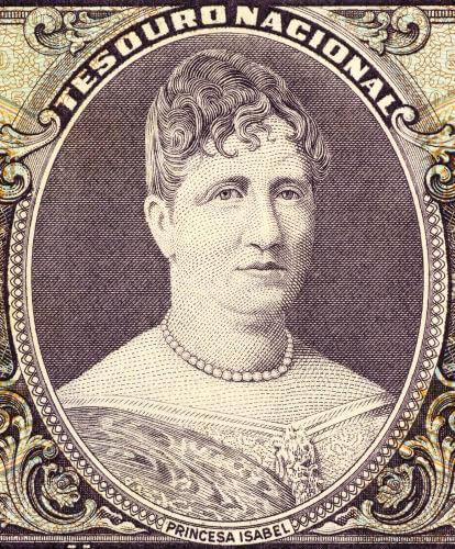 Princesa Isabel, nascida em 1846, era herdeira do trono brasileiro e foi a responsável por assinar a lei que libertou os escravos no Brasil.*