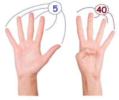 Multiplicando 5 x 9 usando apenas os dedos