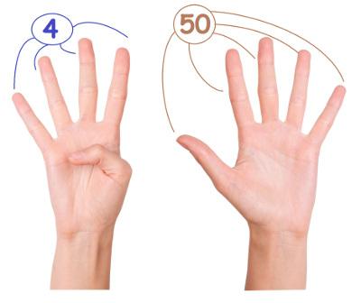 Multiplicando 6 x 9 usando apenas os dedos