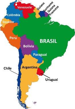 Observe a localização do Brasil na América do Sul e procure identificar quais são os países com quem fazemos fronteira