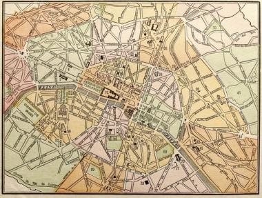 Mapa em escala grande. Uma área menor é representada
