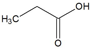 Fórmula estrutural do ácido propiônico