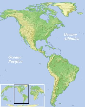 Mapa físico do continente americano