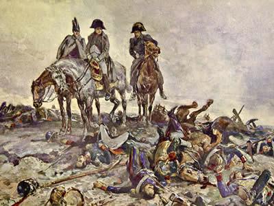 Ilustração da participação de Napoleão em batalha, feita para o livro Guerra e Paz, de Leon Tolstói