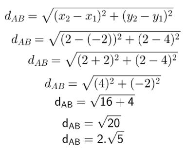 Cálculo utilizado para encontrar a distância entre os pontos A e B