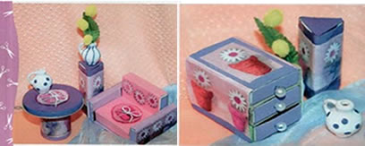 Mobília de casinha de bonecas feita com caixinhas de fósforo.