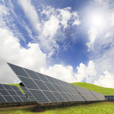Exemplo de uma célula fotovoltaica, uma placa de energia solar