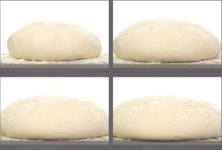 Sequência de imagens do crescimento da massa do pão