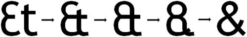 """Quando o ampersand começou a ser utilizado, era possível observar nitidamente as duas letras, """"E"""" e """"T"""". Hoje quase não é possível distingui-las"""