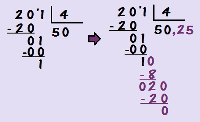Novamente, para que não haja resto na divisão, nós acrescentamos vírgula ao quociente para completar a divisão