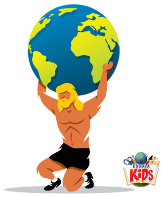Atlas é uma figura mitológica grega e foi condenado a sustentar o mundo para sempre