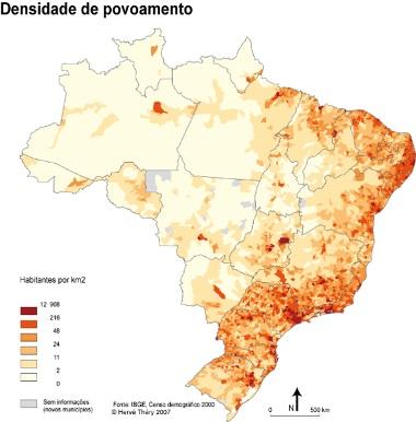 Mapa da distribuição da população brasileira pelo território ¹