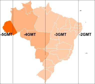 Mapa dos fusos horários brasileiros atualmente