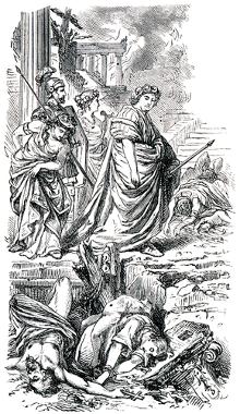 Gravura mostrando Nero, da dinastia Júlio-claudiana, massacrando cristãos