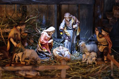 Presépio representando o nascimento de Jesus.