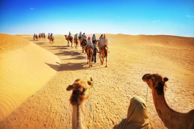 Viajantes atravessando o Deserto do Saara
