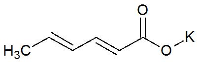 Fórmula estrutural do sorbato de potássio